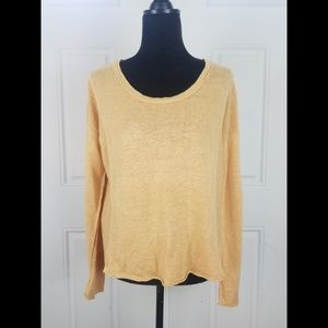 Eileen Fisher Linen Crochet Knit Sweater Small